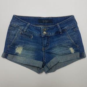 Jessica Simpson Rolled-Cuff Distressed Shorts
